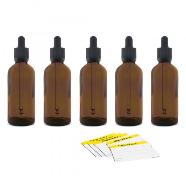 70x 100ml Pipetten-Flasche mit Glaspipette, Braunglas, schwarzer Deckel