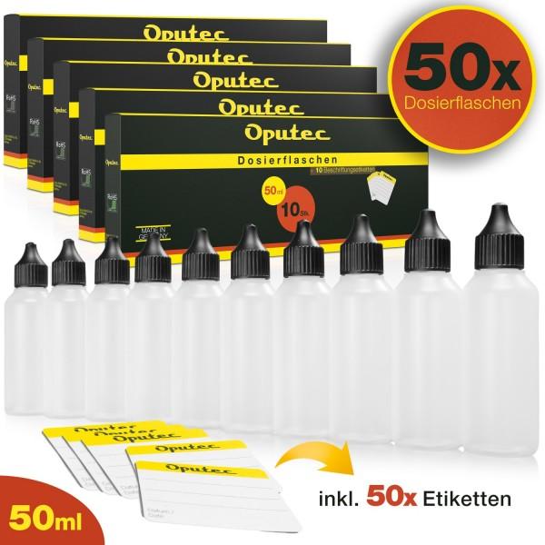 50 x 50ml Dosierflaschen / Liquid-Flaschen mit Tröpflerspitze