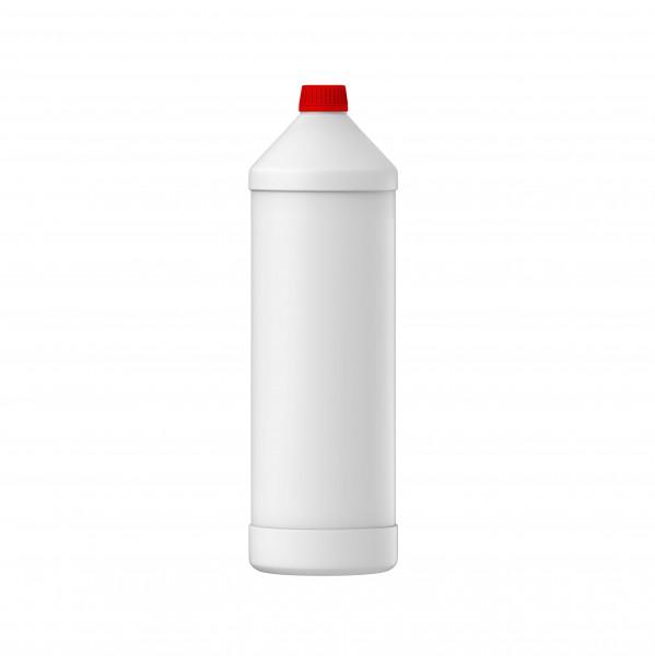 1L / 1000ml Rundflasche Leerflasche HDPE natur inkl. rotem Signalverschluss